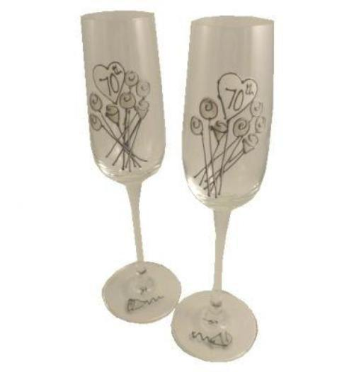 70th Wedding Anniversary Champagne Glasses Flower