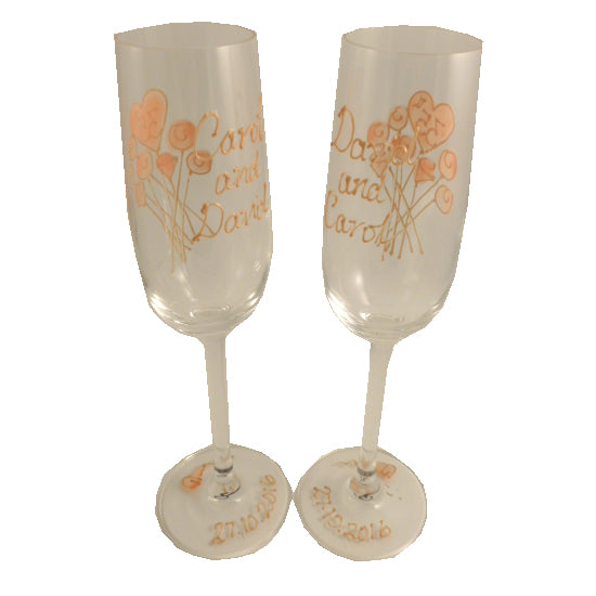 Personalised 1st Wedding Anniversary Champagne Glasses Flower