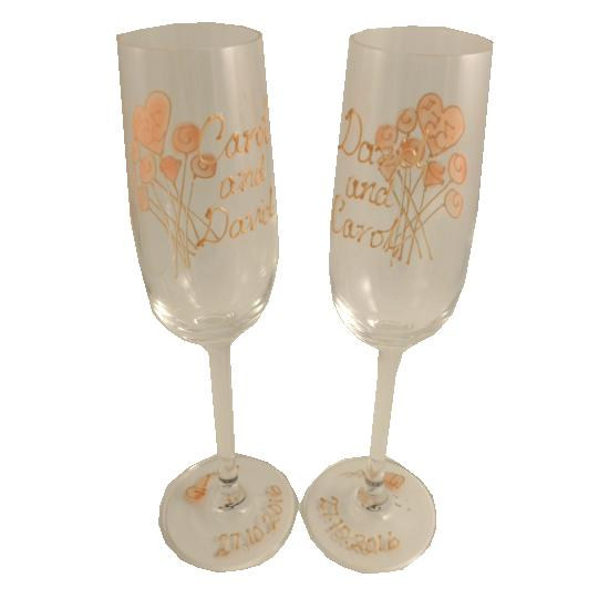 Personalised 45th Wedding Anniversary Champagne Glasses Flower