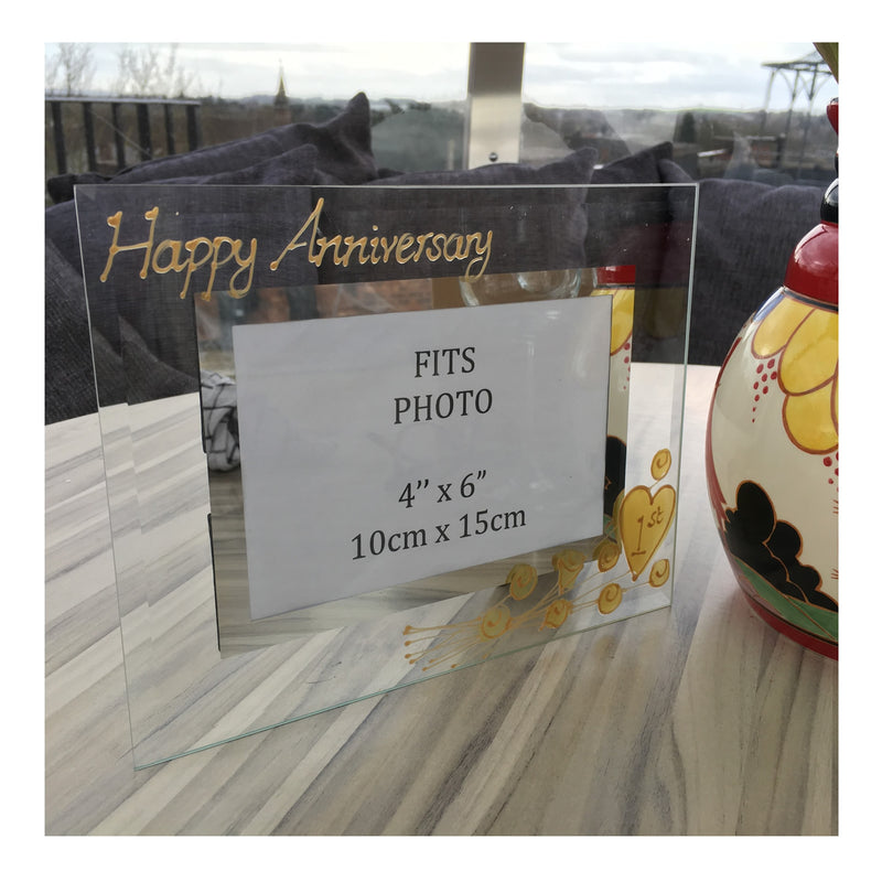 1st Wedding Anniversary Gift Photo Frame Landscape (Flwr)