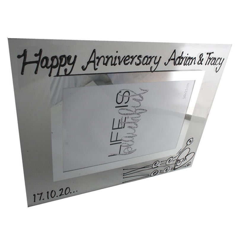 Personalised 15th Anniversary Photo Frame Flower