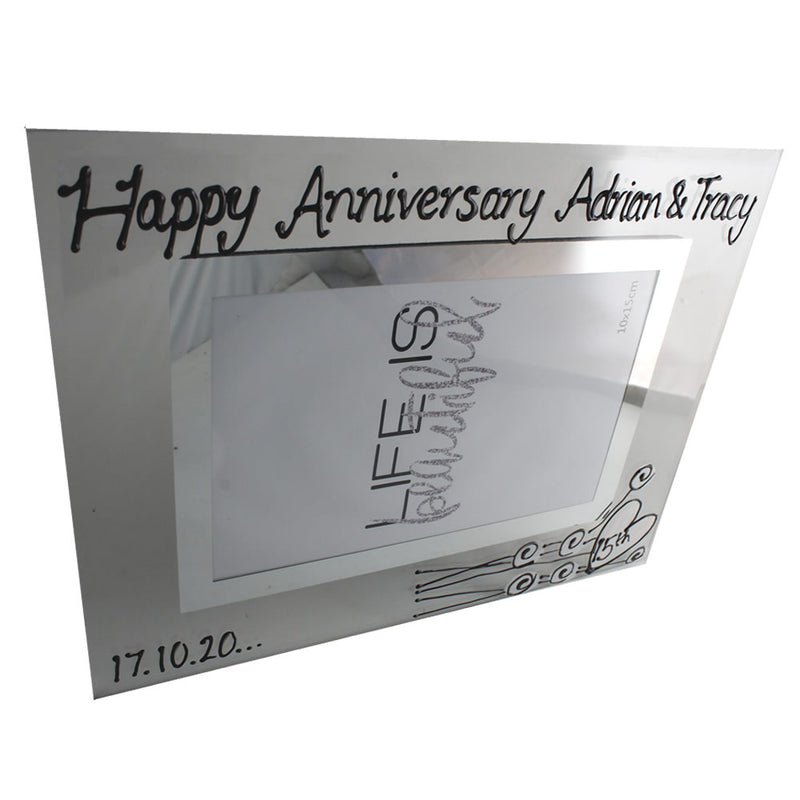 Personalised 15th Wedding Anniversary Photo Frame Land Flower