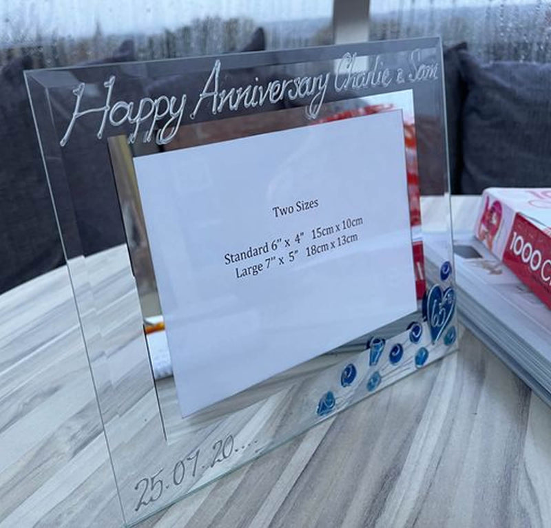 65th Wedding Anniversary Gift Photo Frame Landscape (Flwr)
