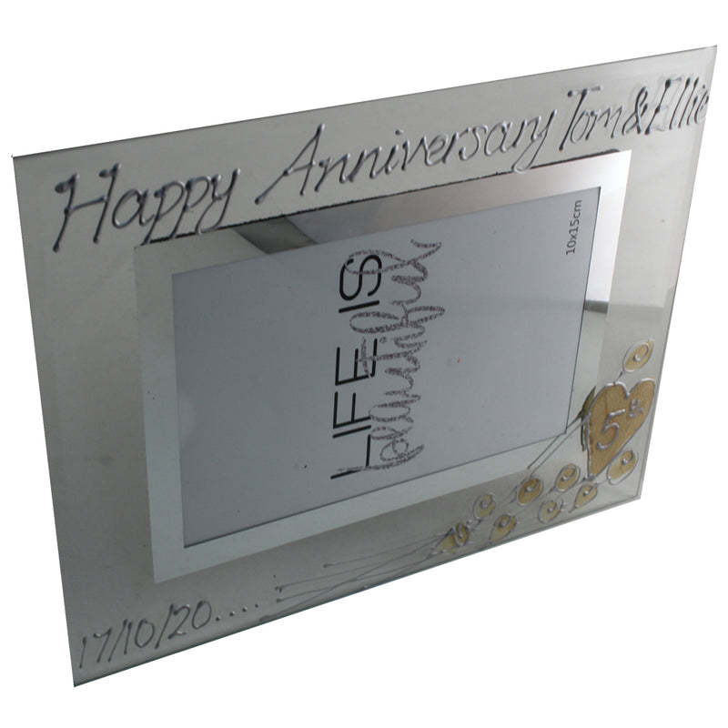 Personalised 5th Wedding Anniversary Photo Frame Land Flower