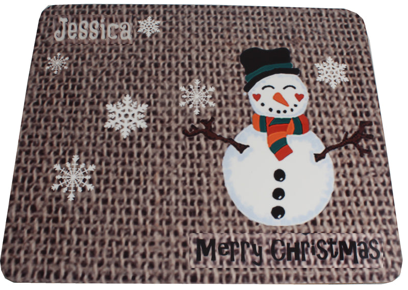 Personalised Christmas Gift Place mat Snowman