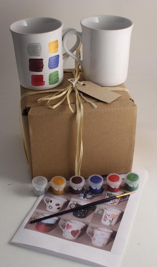 Paint Your Own Mugs with Gift Tag (2 mugs metallics)