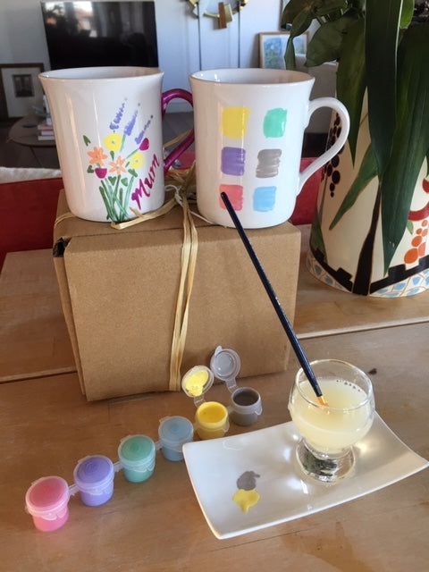 Paint Your Own Mugs with Gift Tag (2 mugs pastel)