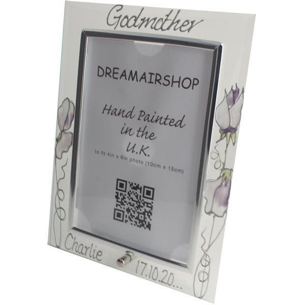 Personalised Godmother Gift Photo Frame: Portrait Sweetpea