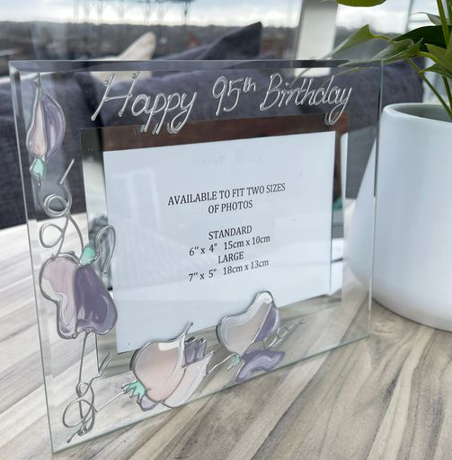 95th Birthday Gift Photo Frame Landscape (Sweet Pea)