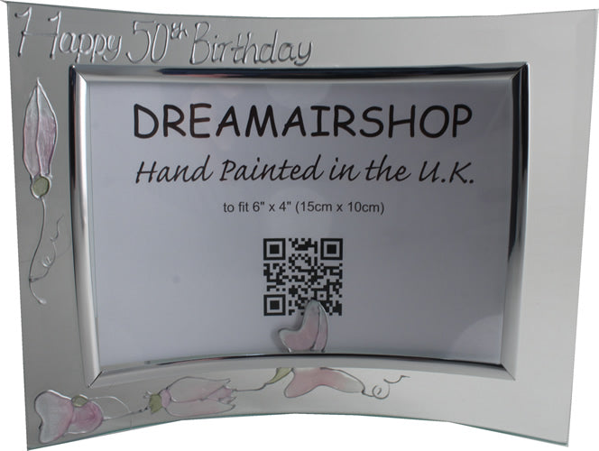 Personalised 50th Birthday Gift Photo: Frame Landscape (Sweet Pea)