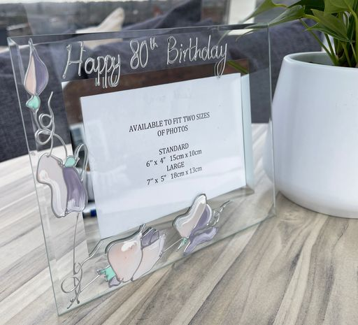 80th Birthday Gift Photo Frame Landscape (Sweet Pea)