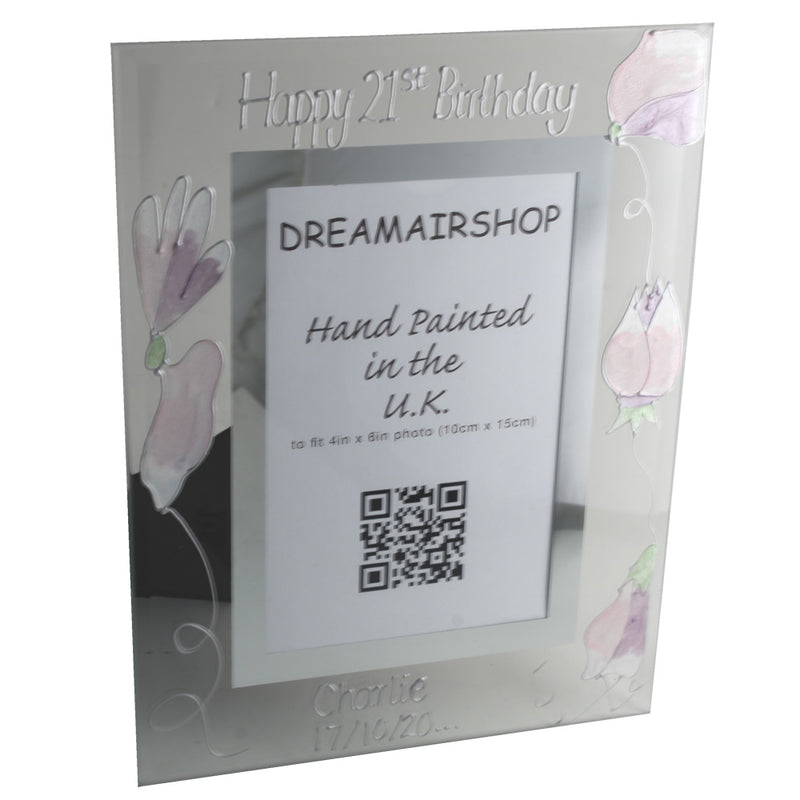 Personalised 21st Birthday Photo Frame Portrait Sweet Pea