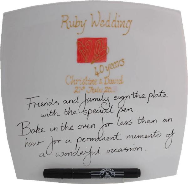 Personalised 40th Wedding Anniversary Plate Hearts/Sq
