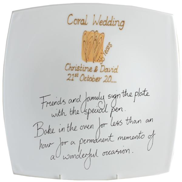 Personalised 35th Wedding Anniversary Plate (Heart/Sq)