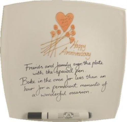 35th Wedding Anniversary Plate Square Flower