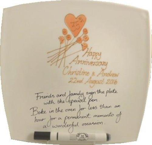 Personalised 35th Wedding Anniversary Plate Square Flower