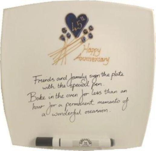 45th Wedding Anniversary Plate Square Flower