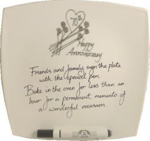 70th Wedding Anniversary Plate Square Flower