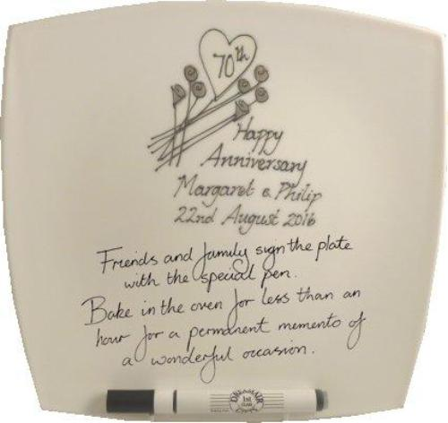 Personalised 70th Wedding Anniversary Plate Square Flower