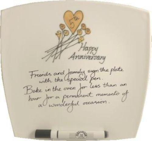 5th Wedding Anniversary Plate Square Flower