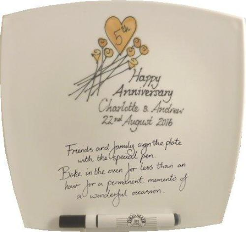 Personalised 5th Wedding Anniversary Plate Square Flower