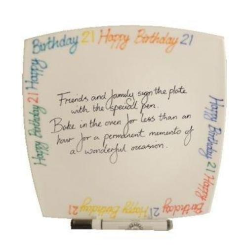 21st Birthday Gift Square Plate Brights