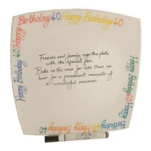 40th Birthday Gift Square Plate Brights