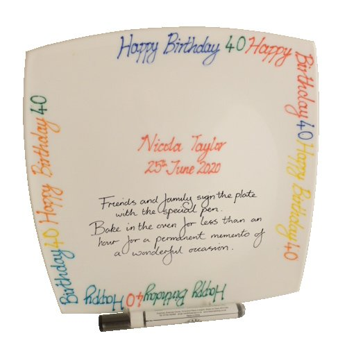 Personalised 40th Birthday Square Plate