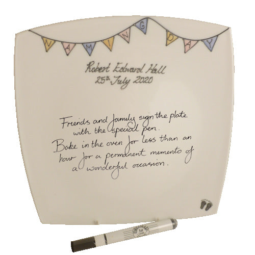 Personalised Naming Day Square Plate (Bunting)