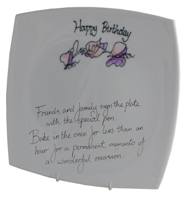 40th Birthday Plate Square Sweet Pea