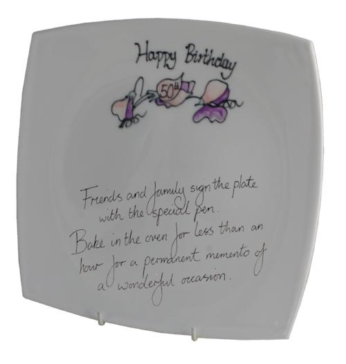 50th Birthday Plate Square Sweet Pea