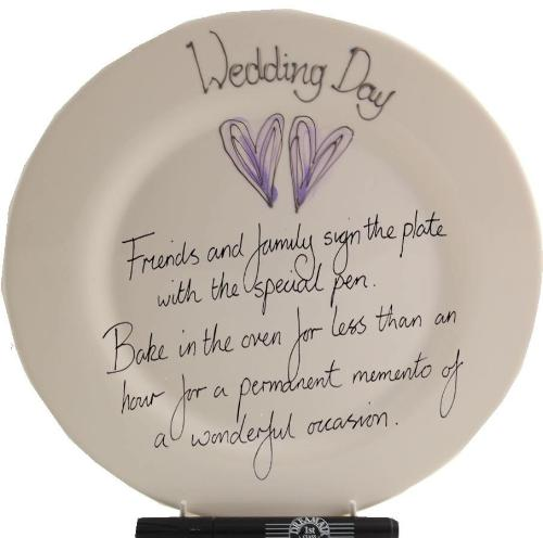 Wedding Day Plate Round (Silver/Lilac Hearts)