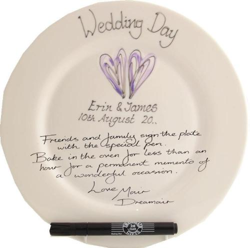 Personalised Wedding Day Plate Round (Silver/Lilac Hearts)