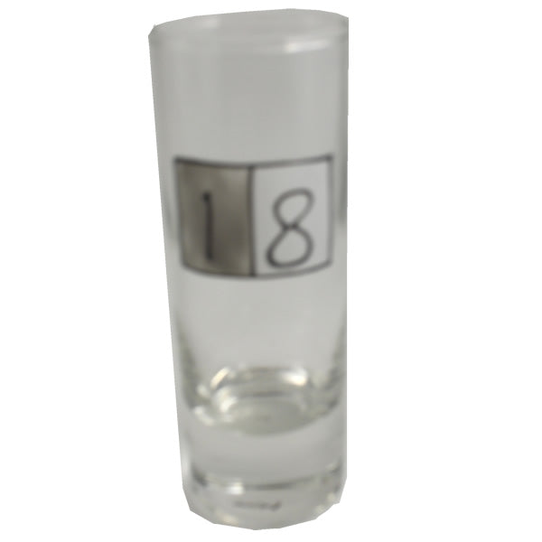 18th Birthday Gift Shot Glass: (Tall Grey Sq)