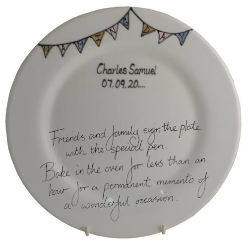 Personalised Naming Day Round Plate (Bunting)