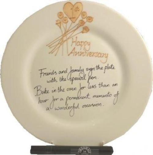 1st Wedding Anniversary Plate Round Flower