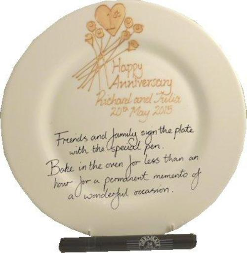 Personalised 1st Wedding Anniversary Plate Round Flower