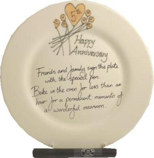 5th Wedding Anniversary Plate Round Flower
