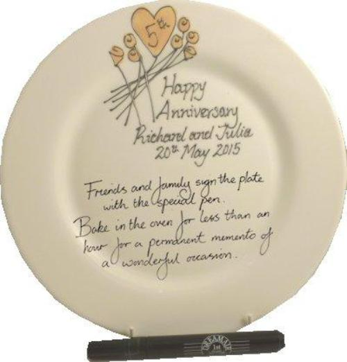 Personalised 5th Wedding Anniversary Plate Round Flower