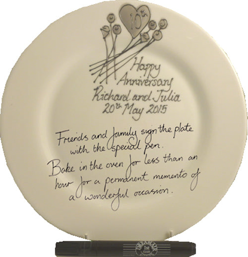 Personalised 10th Wedding Anniversary Plate Round Flower