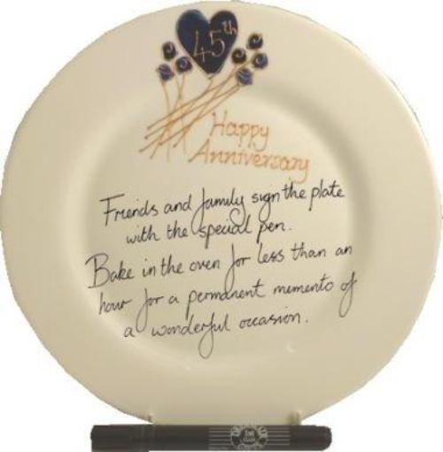 45th Wedding Anniversary Plate Round Flower