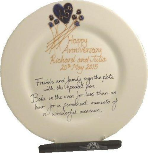 Personalised 45th Wedding Anniversary Plate Round Flower
