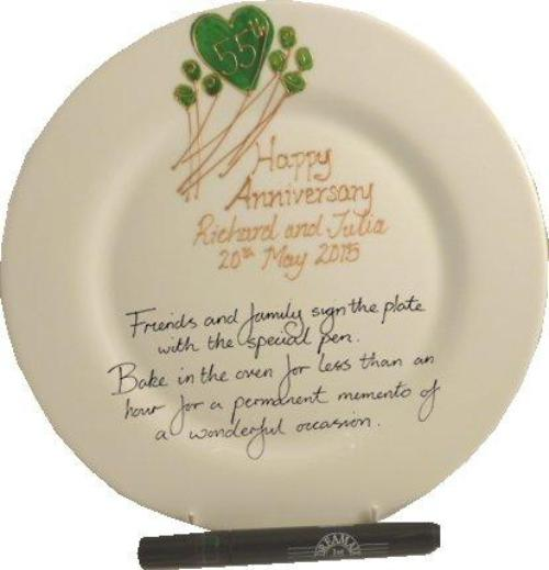 Personalised 55th Wedding Anniversary Plate Round Flower