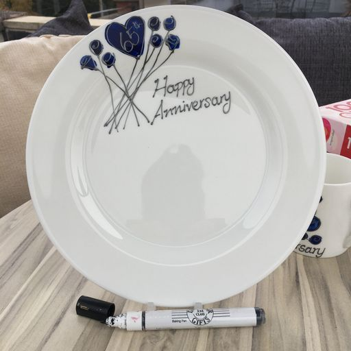 65th Wedding Anniversary Plate Round Flower