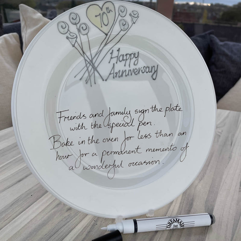 70th Wedding Anniversary Plate Round Flower