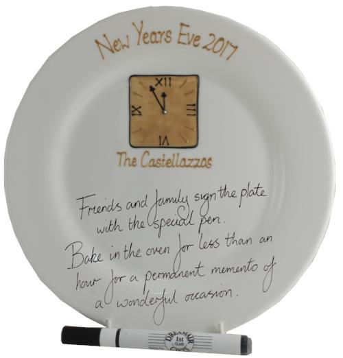 Personalised New Year Eve Round Signature Plate