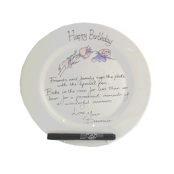 40th Birthday Plate Round Sweet Pea