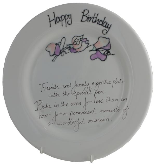 65th Birthday Plate Round Sweet Pea
