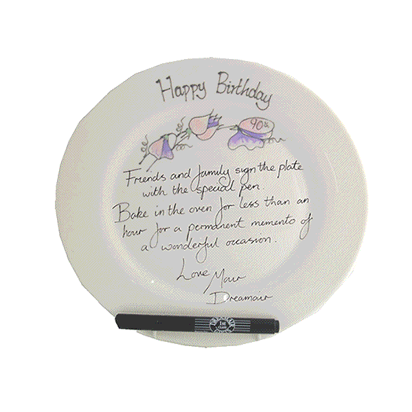 90th Birthday Gift Signature Plate: Round (Sweet Pea)