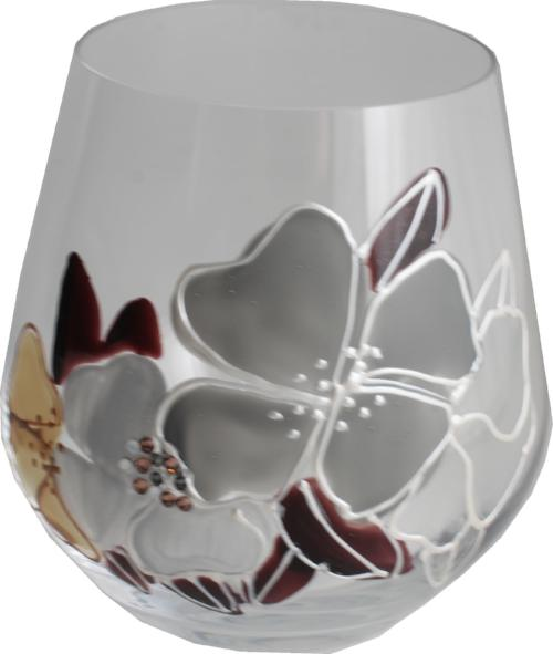 Stemless Red Wine Glass/Tumbler: Titanium Crystal Luxury with Crystals